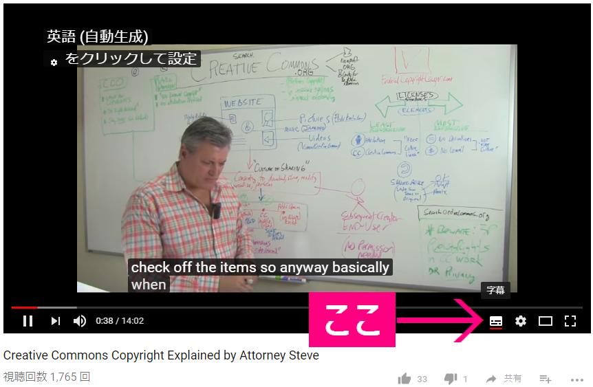 YouTubeの字幕の表示方法